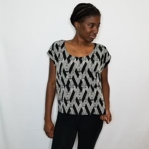 Forever 21 Black and Cream Blouse